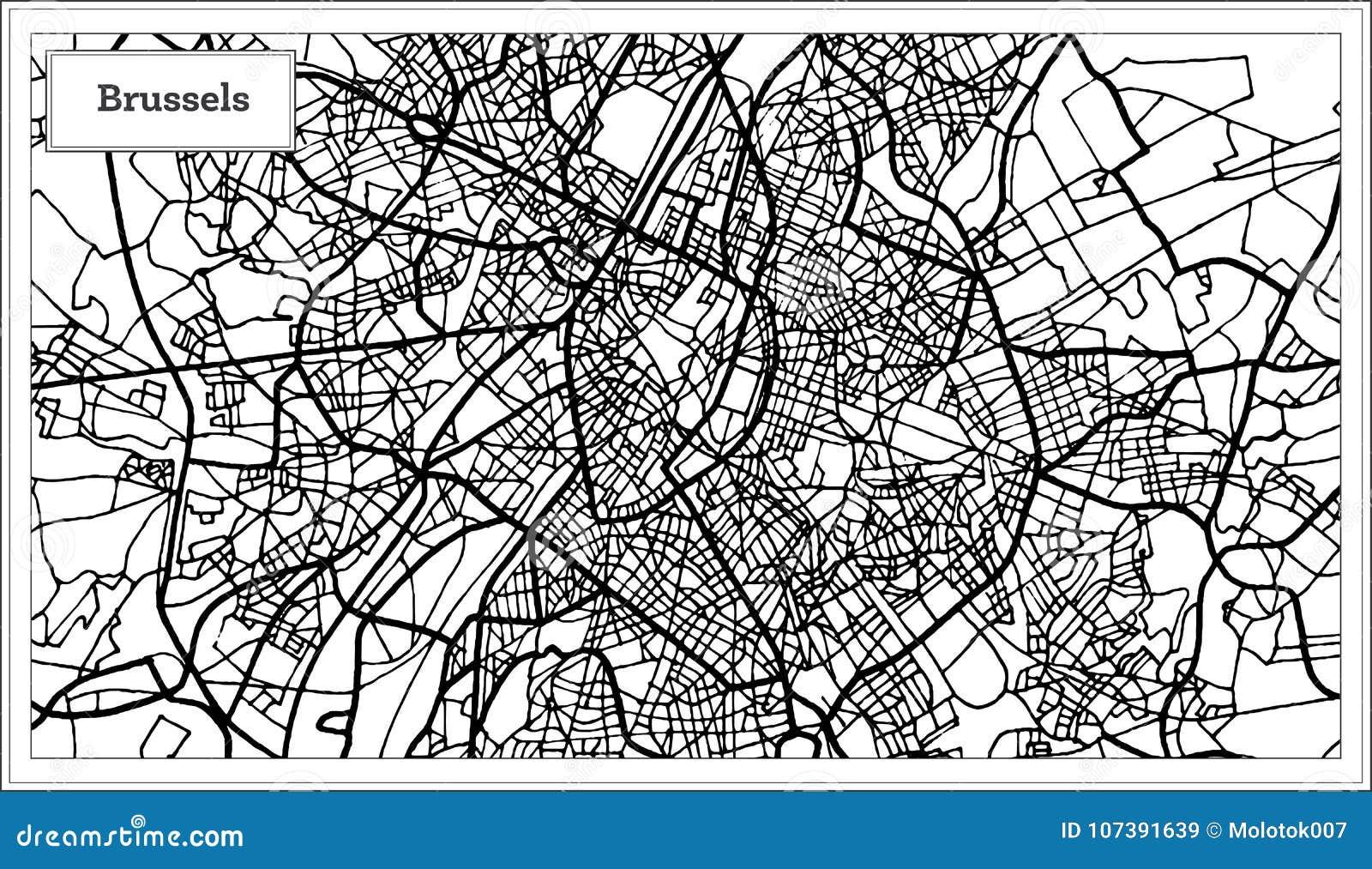 Carte Belgique Noir Et Blanc.Carte De Bruxelles Belgique Dans La Couleur Noire Et Blanche