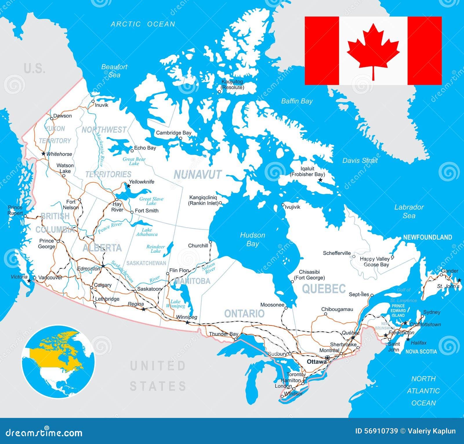 Carte De Canada Drapeau Routes Illustration