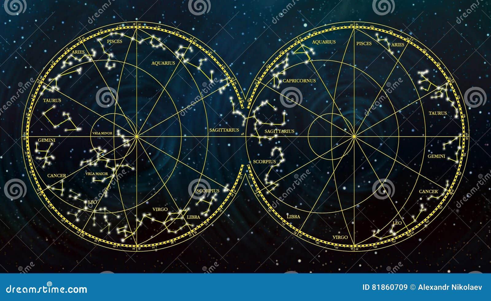 Carte de ciel dépeignant des constellations et des signes de zodiaque