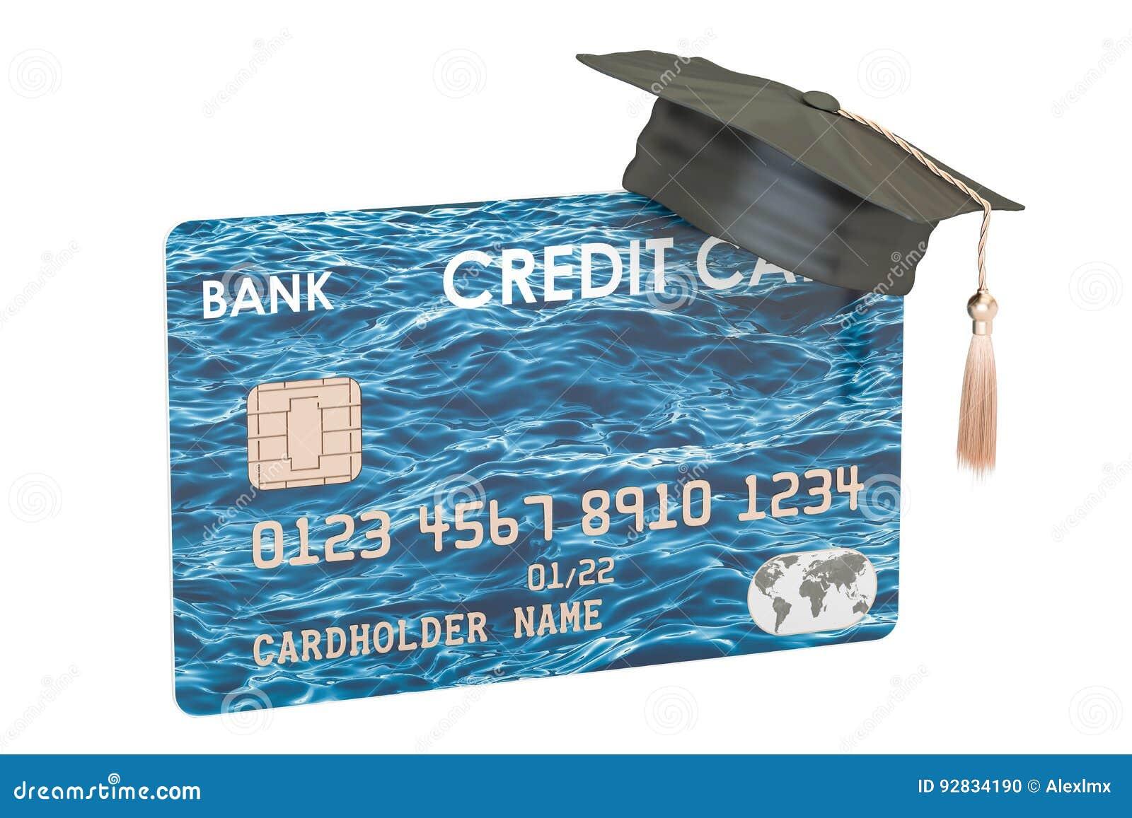 Carte de crédit avec le chapeau d obtention du diplôme, rendu 3D