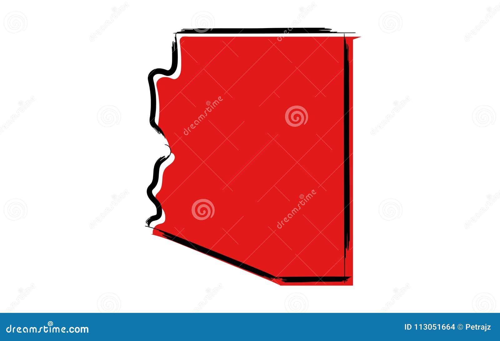 Carte de croquis rouge de l Arizona