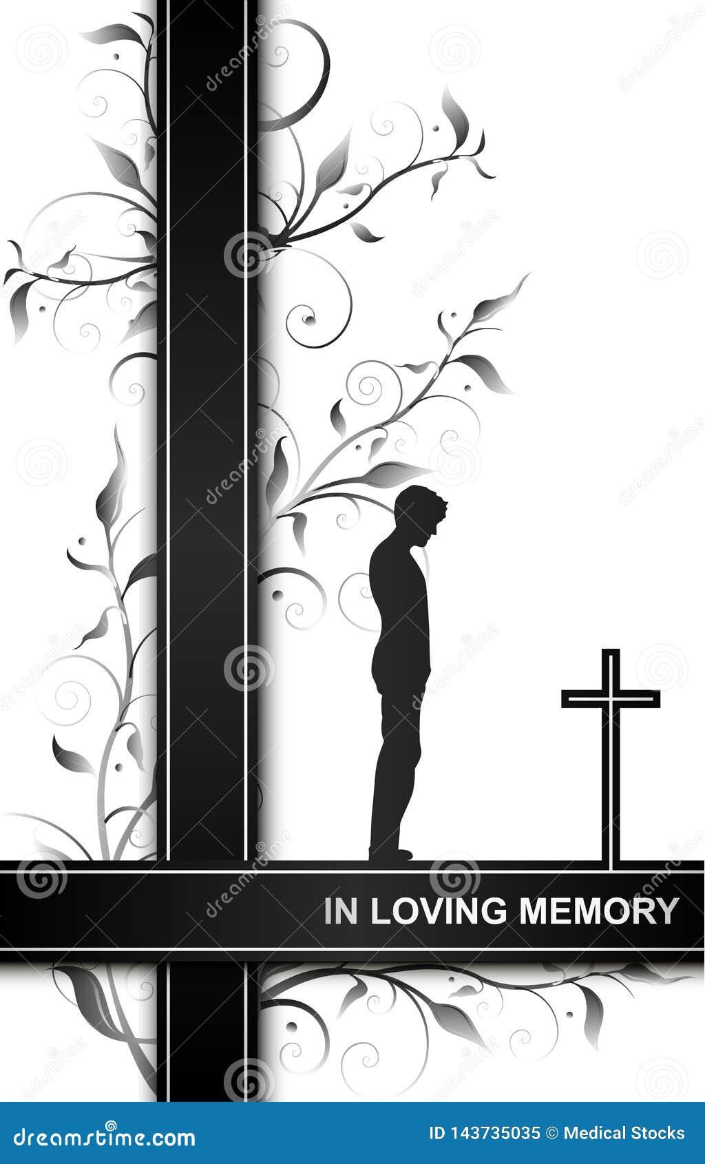 Carte de deuil dans la mémoire aimante avec un homme sur des éléments croisés et floraux d isolement sur le fond blanc