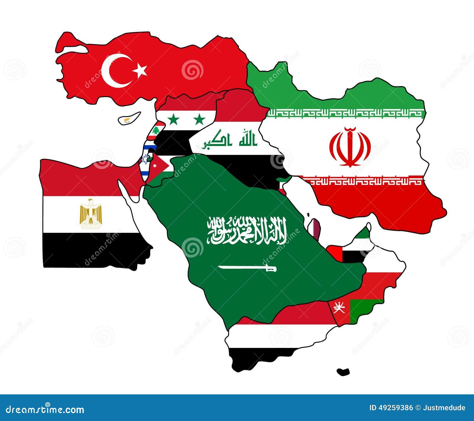 Carte De Drapeau De Moyen-Orient Illustration de Vecteur - Image: 49259386