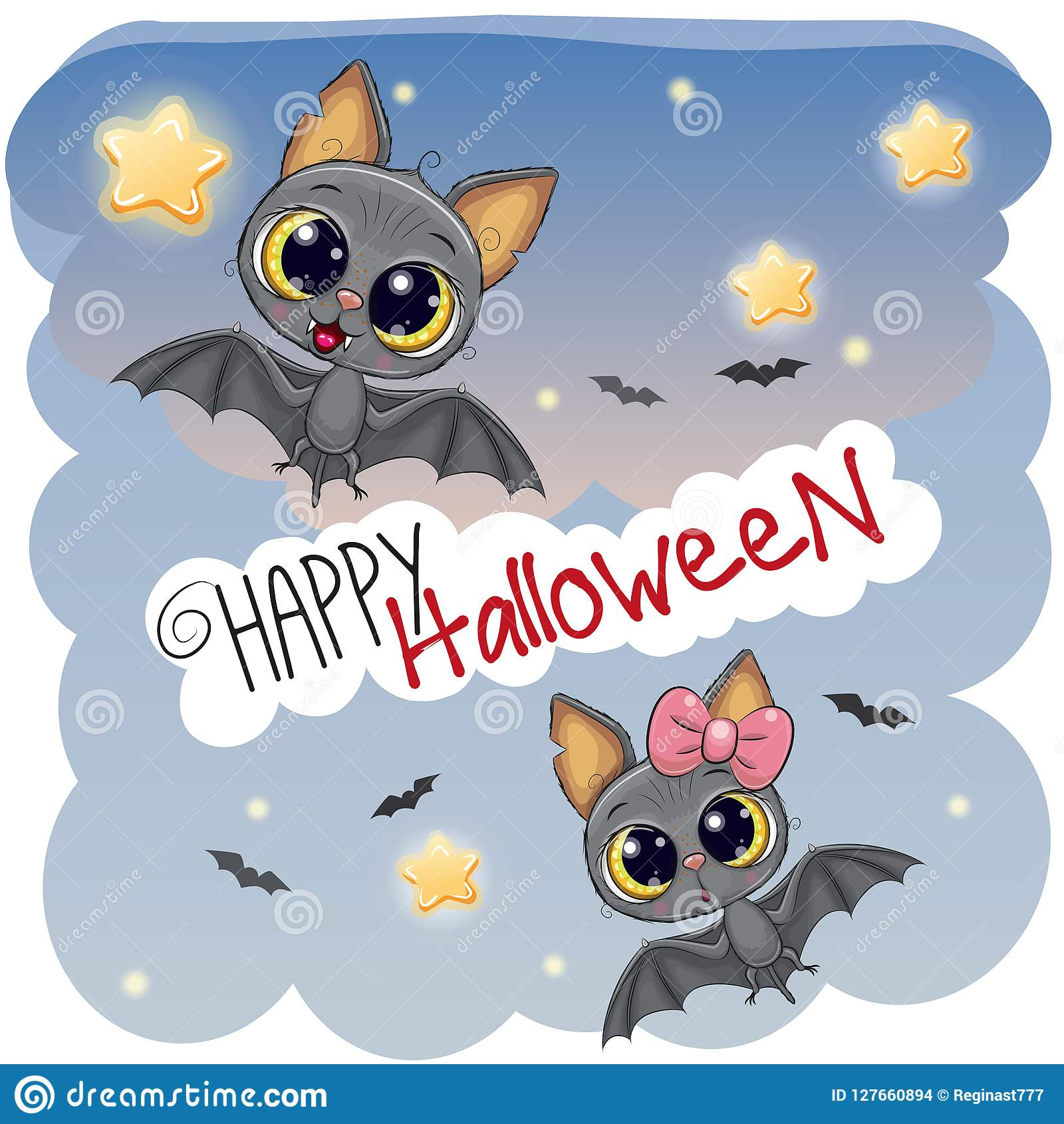 Carte de Halloween de salutation avec deux battes