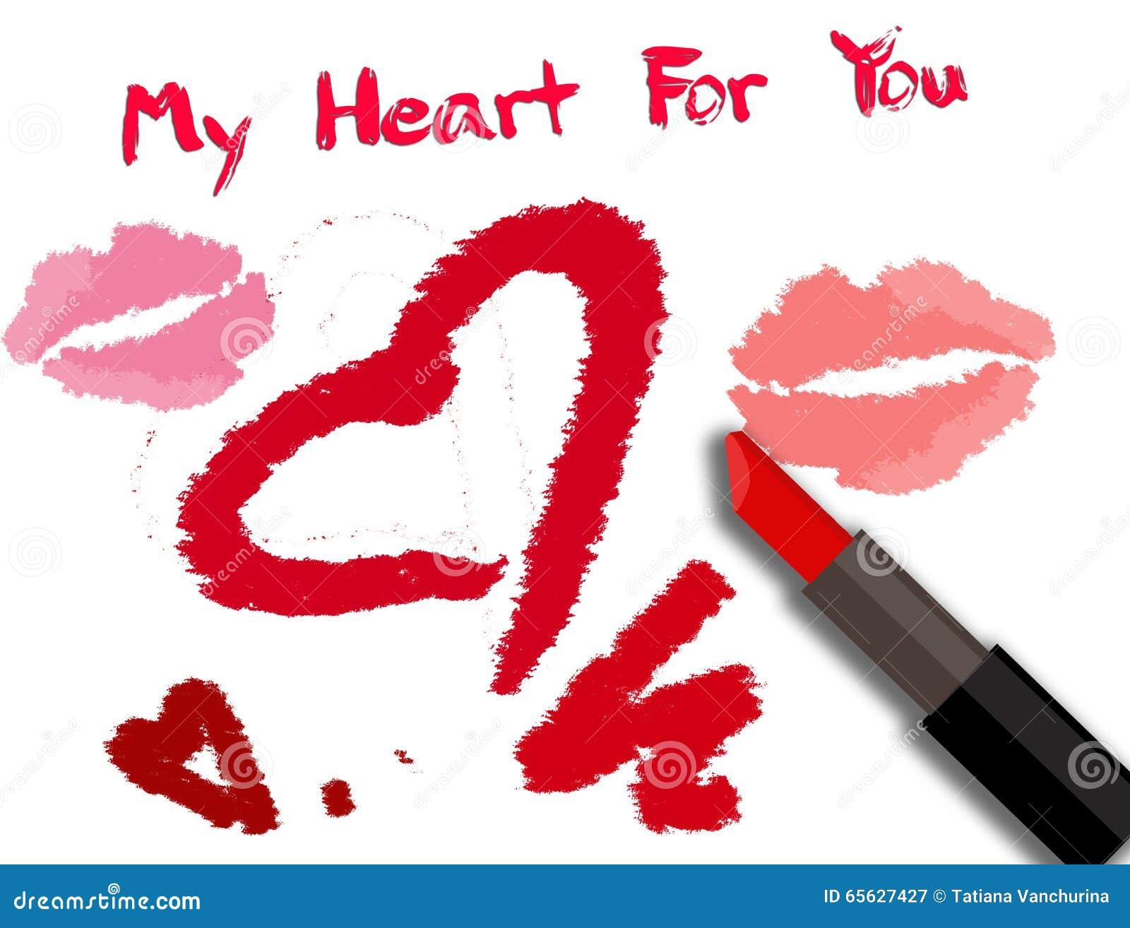 Carte de jour de valentines avec l inscription de rouge à lèvres