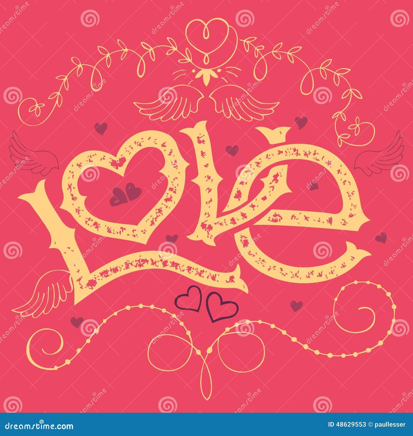 Carte de jour de valentines de main-lettrage d amour
