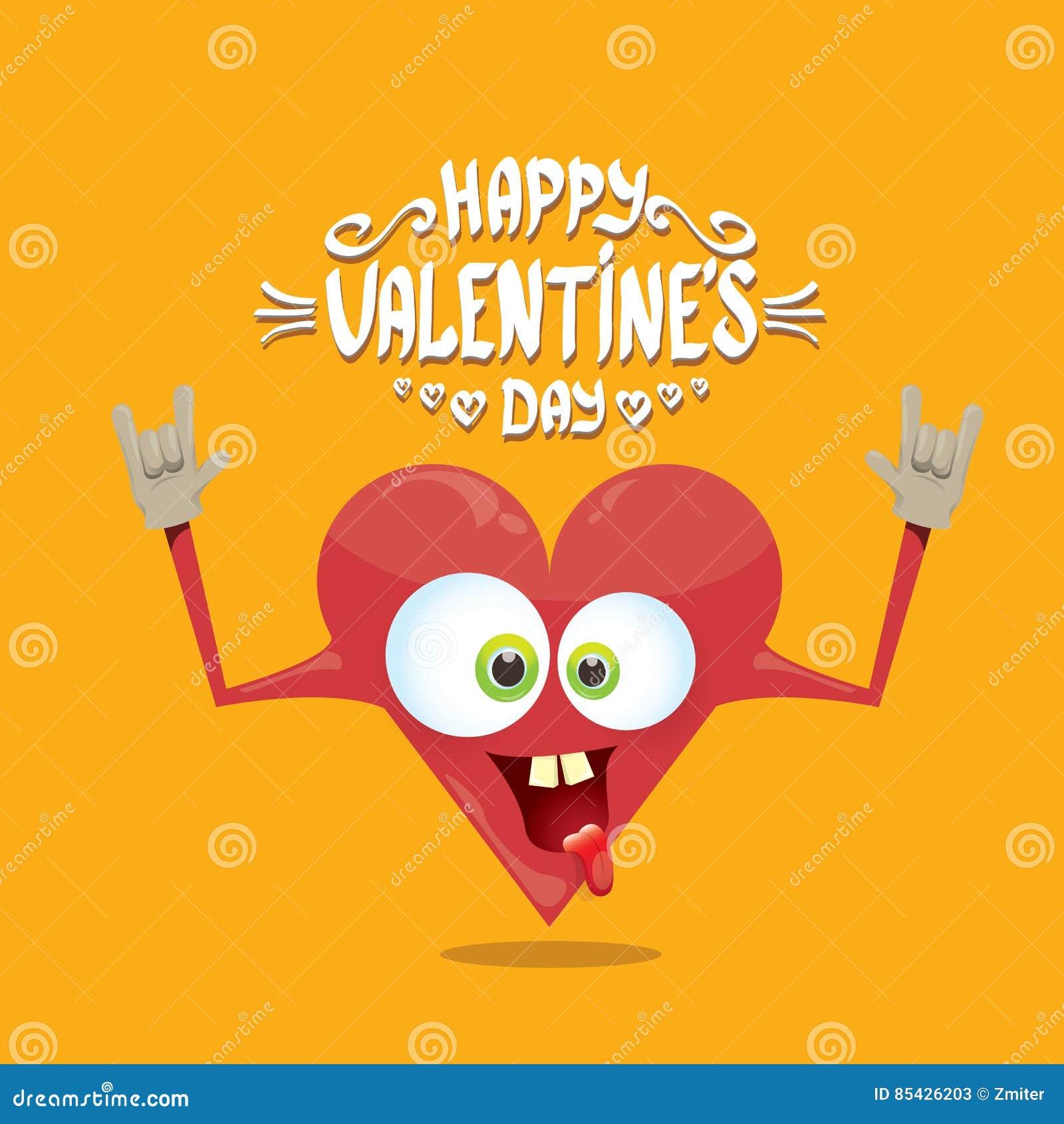 Carte de jour de valentines de vecteur avec le coeur de bande dessinée