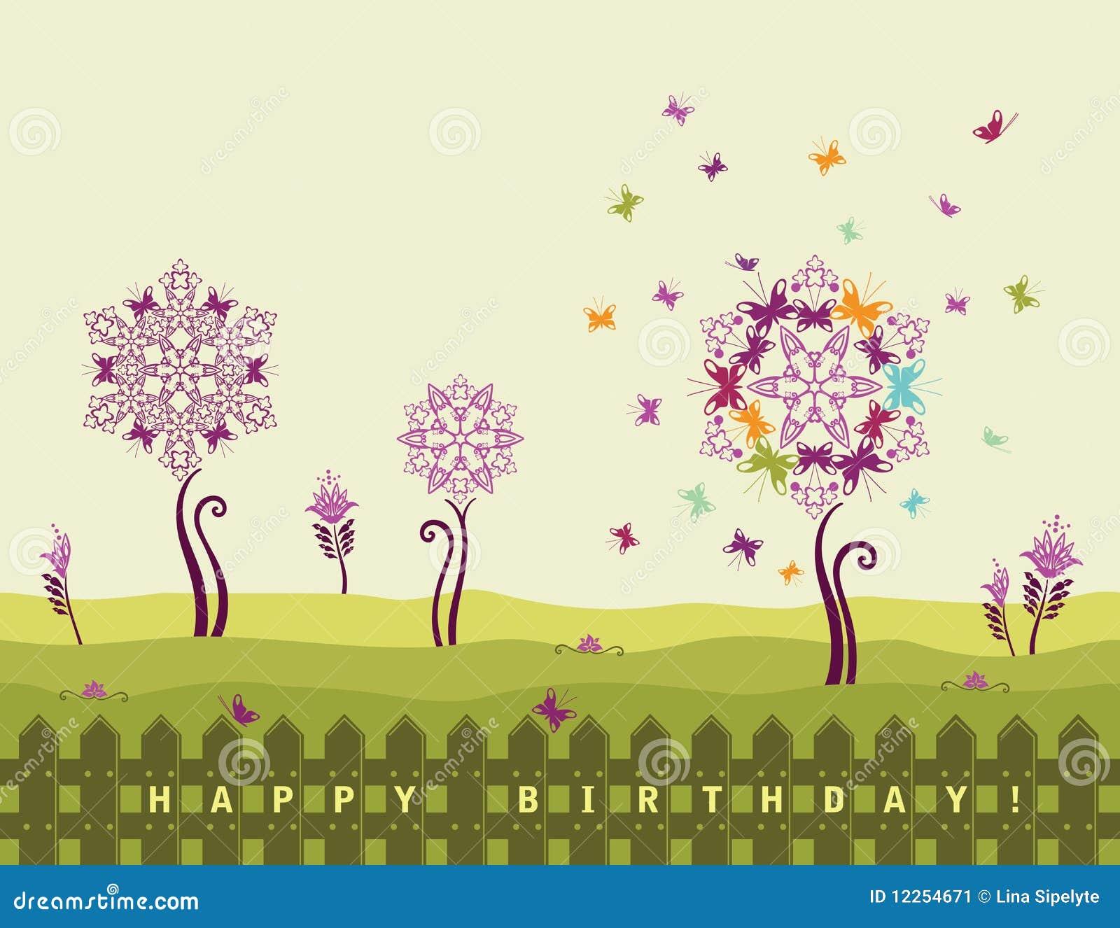 Carte de joyeux anniversaire avec des fleurs illustration for Livraison fleurs avec message