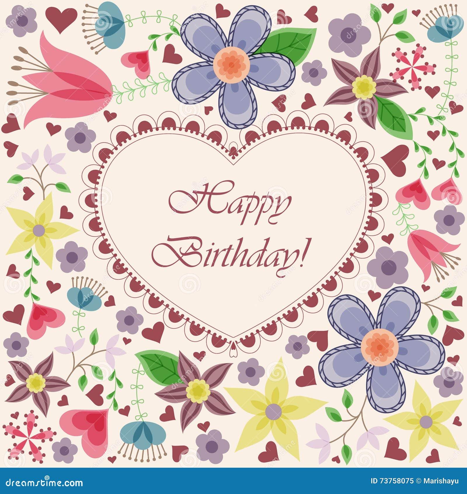 Carte De Joyeux Anniversaire Avec Des Fleurs De Coeur Illustration