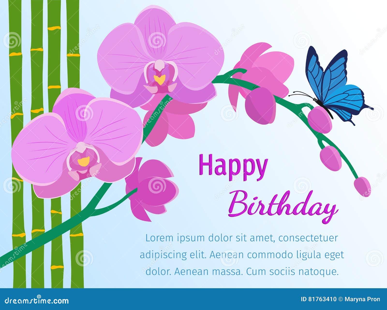 Carte De Joyeux Anniversaire Avec L Orchidee Rose Sur Le Fond Bleu