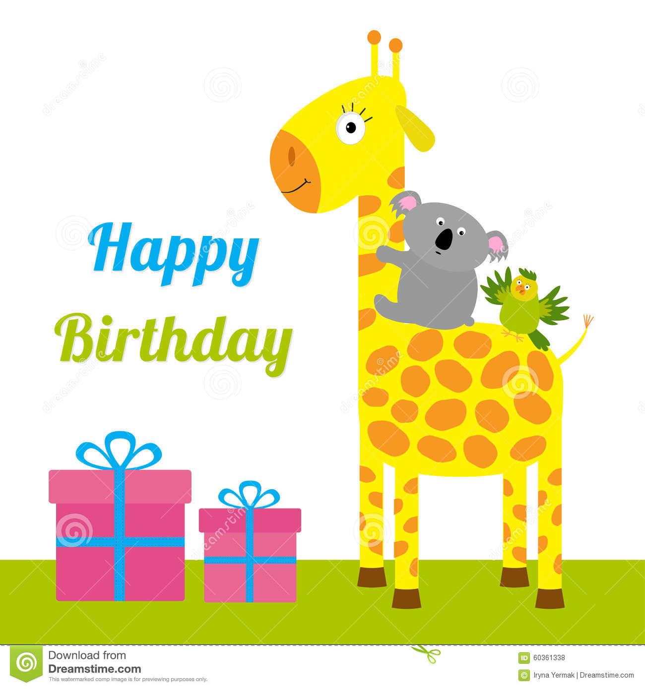 carte de joyeux anniversaire avec la girafe le koala et. Black Bedroom Furniture Sets. Home Design Ideas