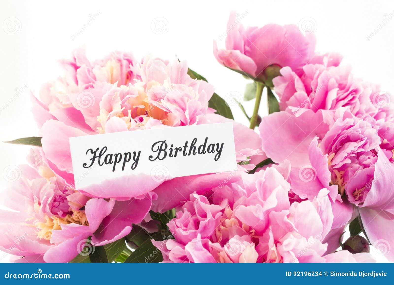 Carte Anniversaire Bouquet De Roses.Carte De Joyeux Anniversaire Avec Le Bouquet Des Pivoines