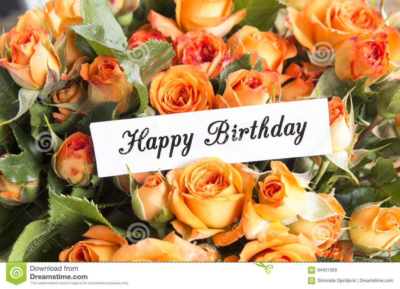 Carte De Joyeux Anniversaire Avec Le Bouquet Des Roses Oranges Image
