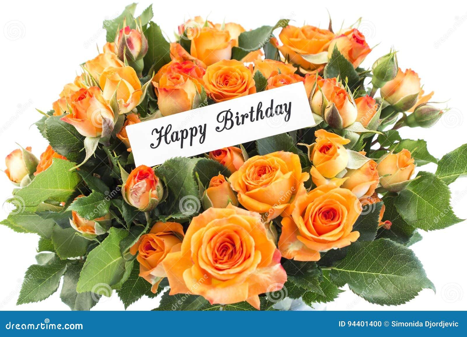 Carte De Joyeux Anniversaire Avec Le Bouquet Des Roses Oranges Photo