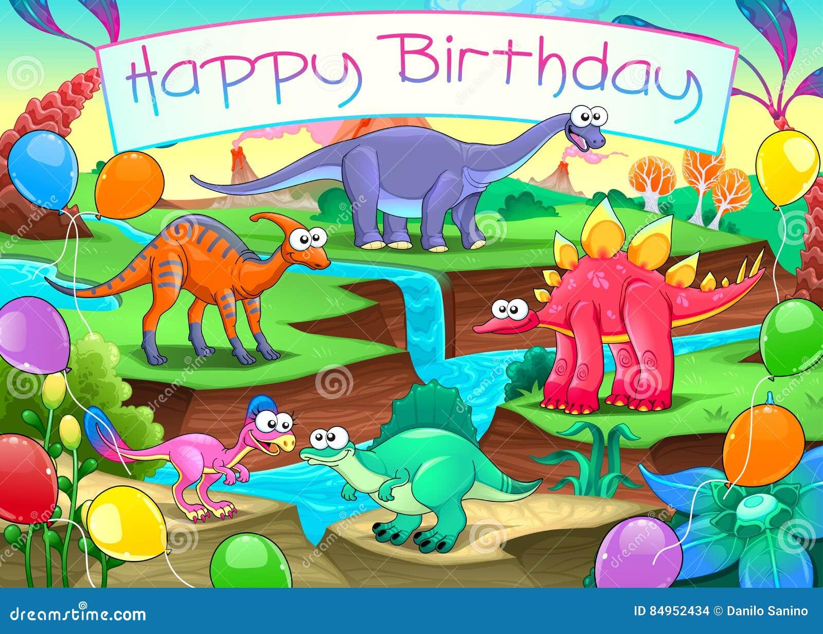 Carte De Joyeux Anniversaire Avec Les Dinosaures Droles Illustration De Vecteur Illustration Du Droles Joyeux 84952434
