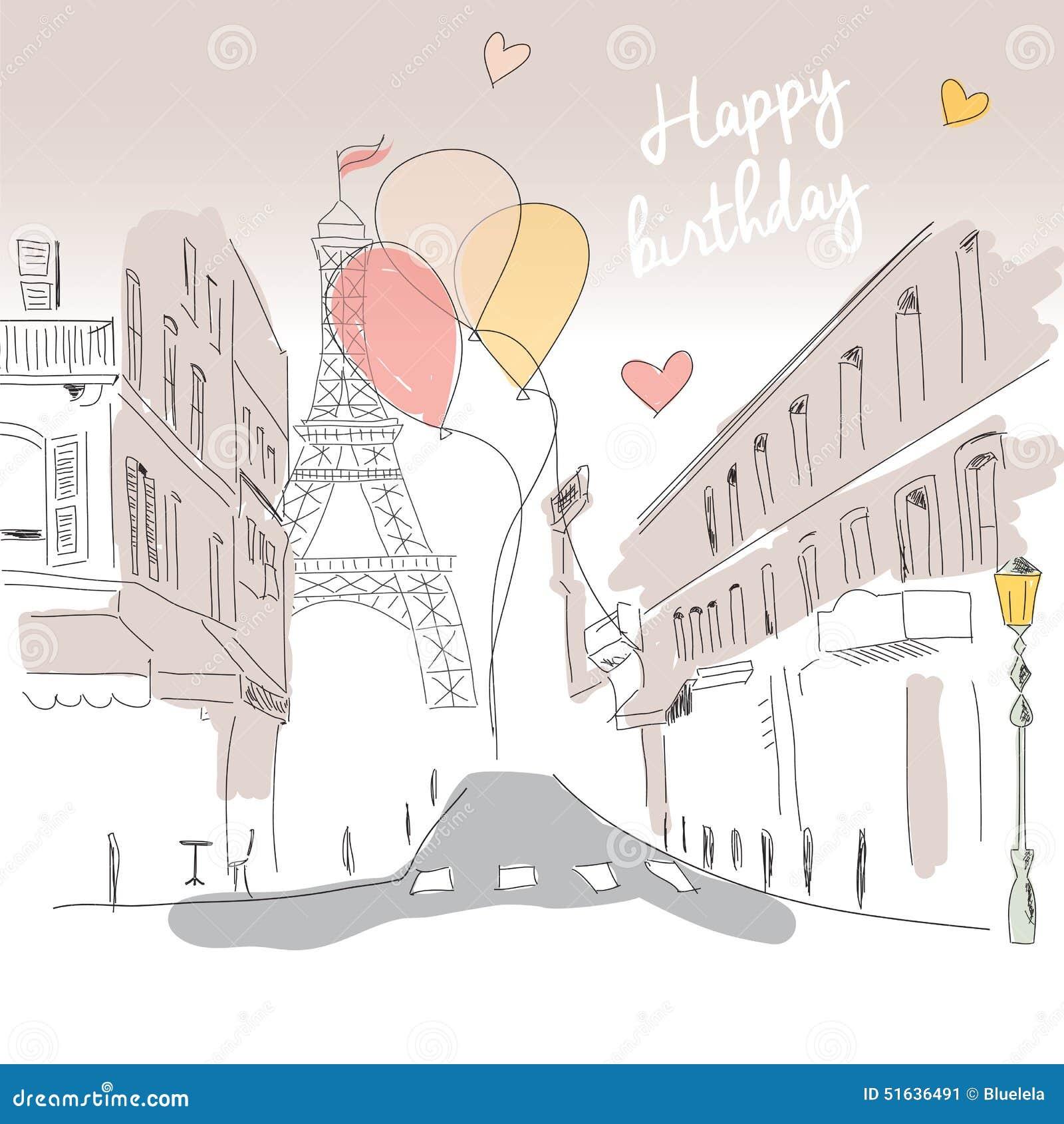 Carte De Joyeux Anniversaire De Rue De Tour Eiffel Et De Ballons De Paris Illustration De Vecteur Illustration Du Ballons Paris 51636491
