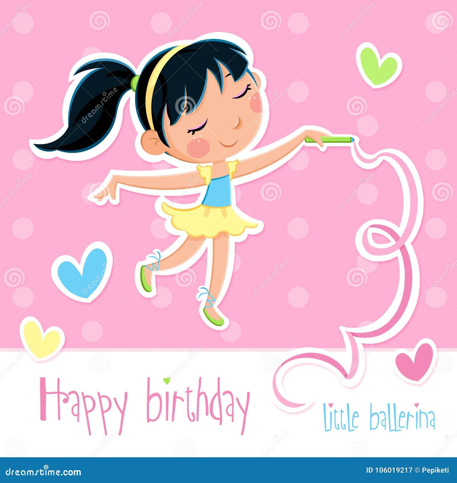 Carte De Joyeux Anniversaire Petite Fille Adorable De Ballerine Fond Rose Avec Des Points Et Des Coeurs Illustration Stock Illustration Du Fille Fond 106019217