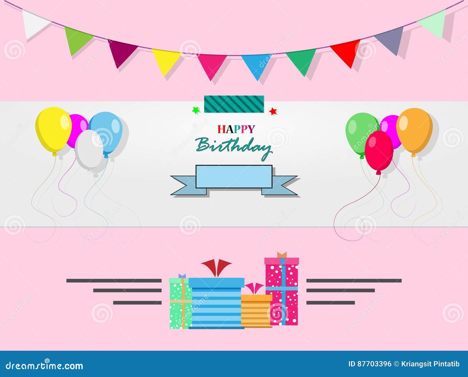 Carte de joyeux anniversaire sur un fond rose