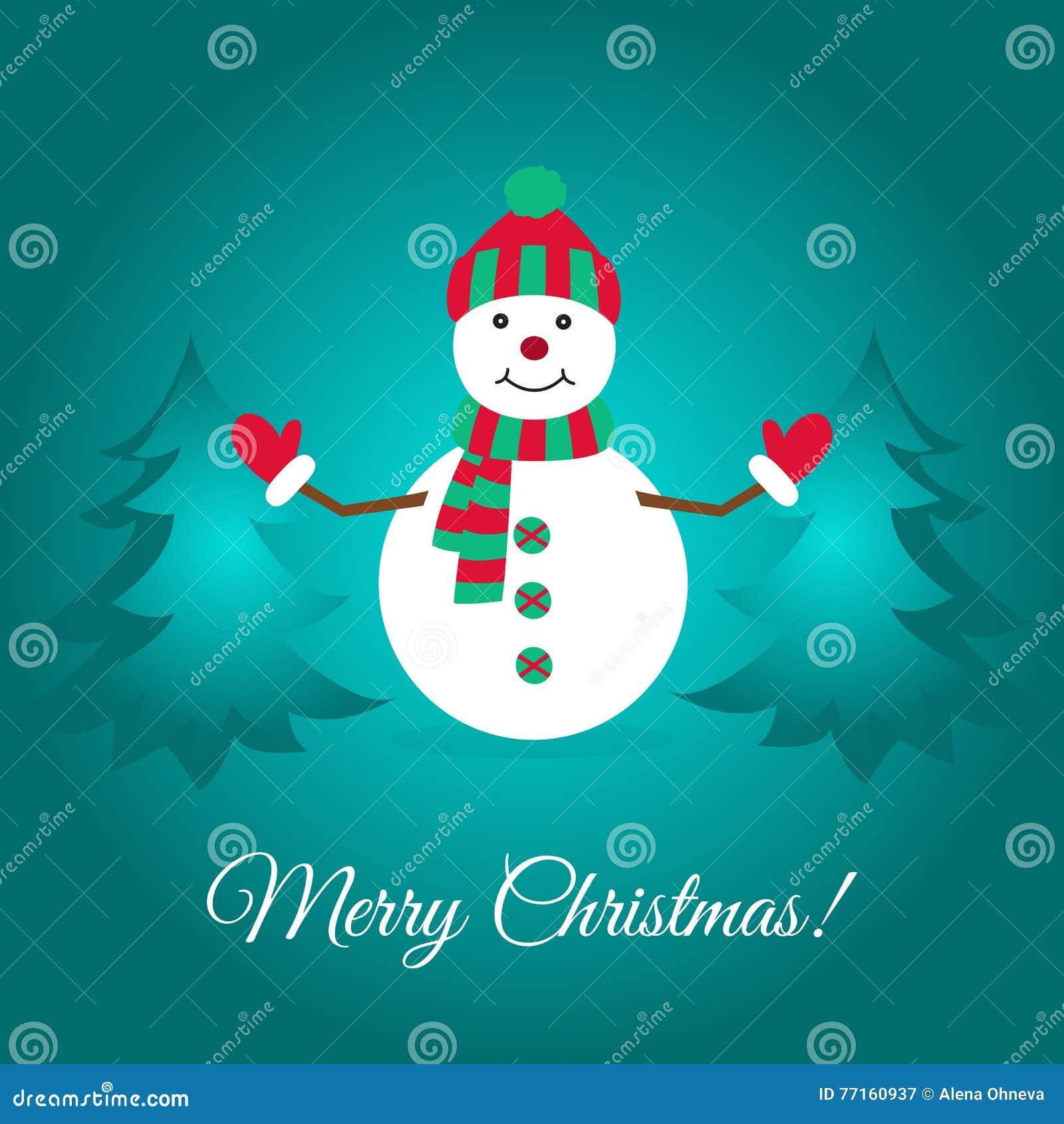 Carte de Joyeux Noël avec le bonhomme de neige et les sapins mignons
