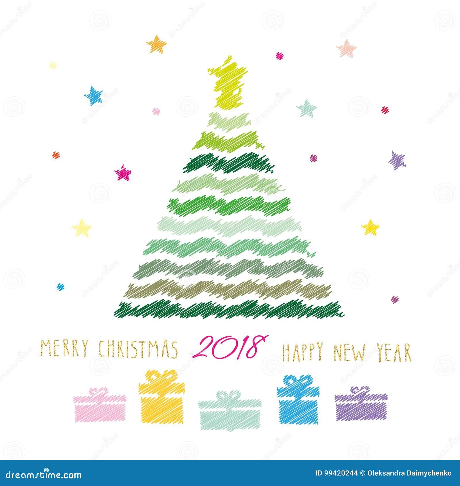 Carte De Joyeux Noel Et De Bonne Annee 2018 Dessin Au Crayon De