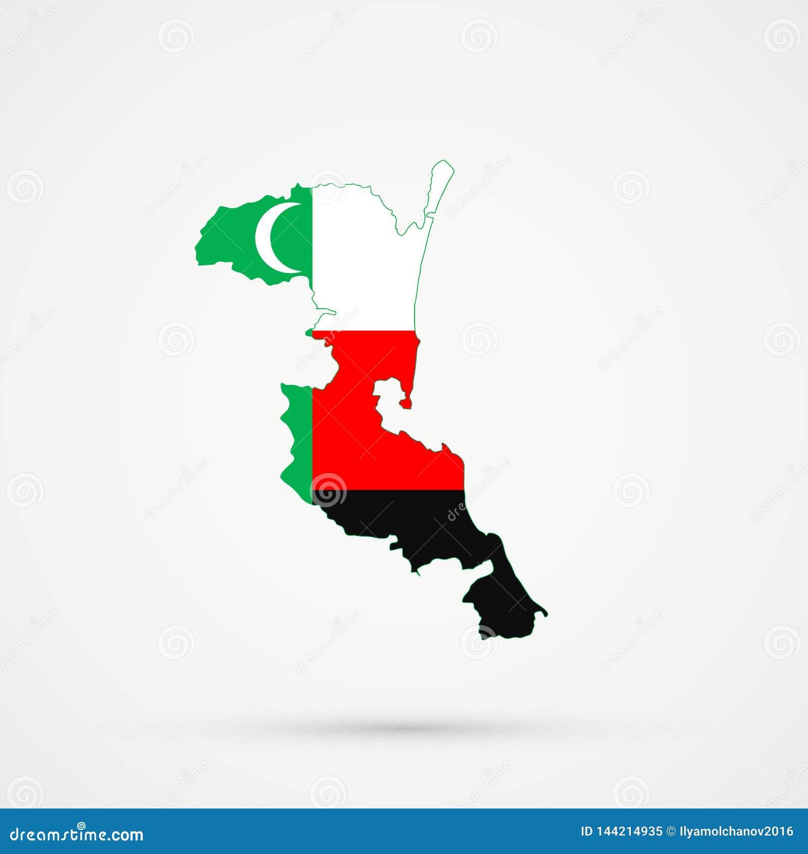 Carte de Kumykia Dagestan dans des couleurs de drapeau d ethnies de Turcs d Ahiska de Turcs de Meskhetian, vecteur editable