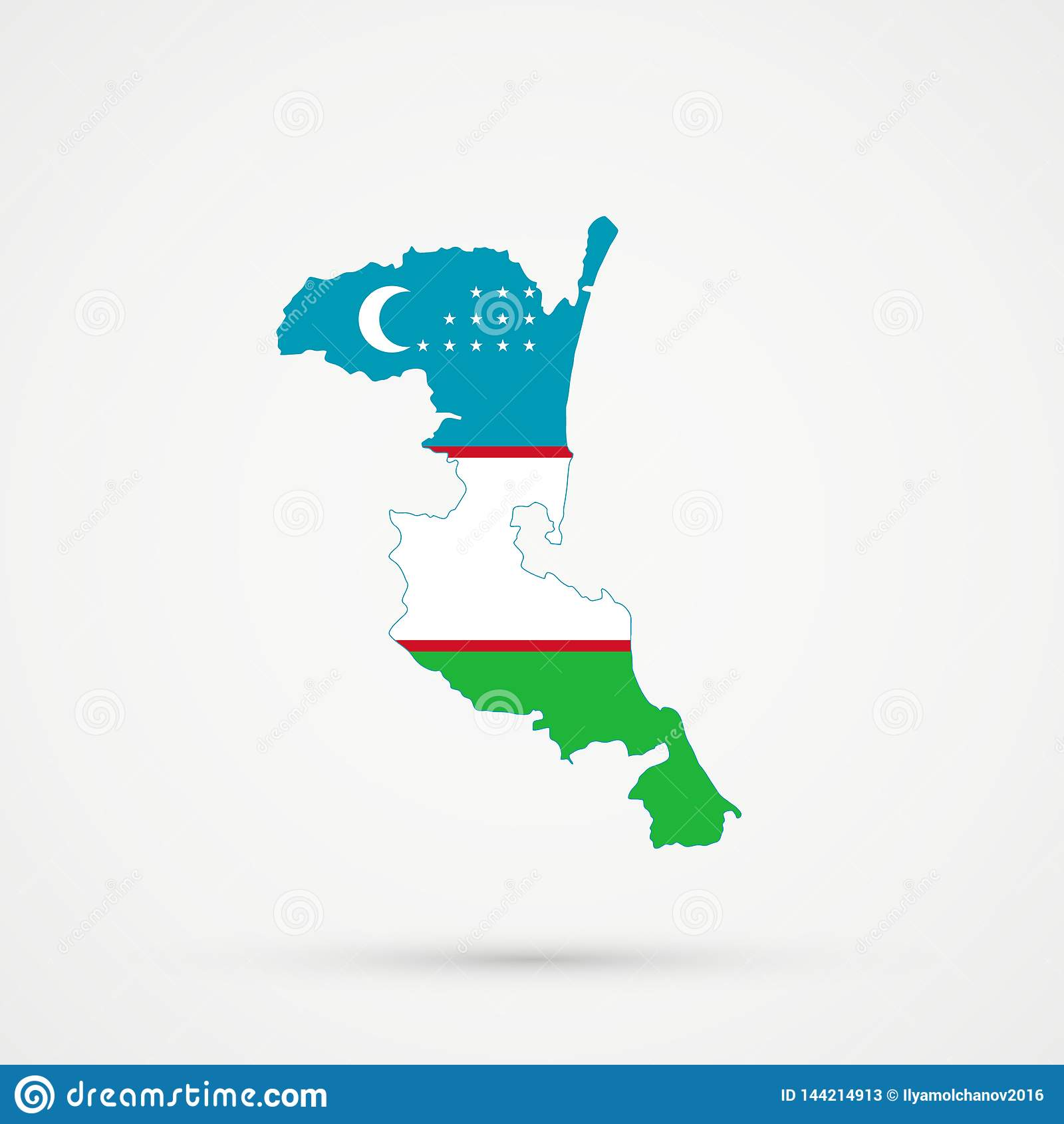 Carte de Kumykia Dagestan dans des couleurs de drapeau de l Ouzbékistan, vecteur editable