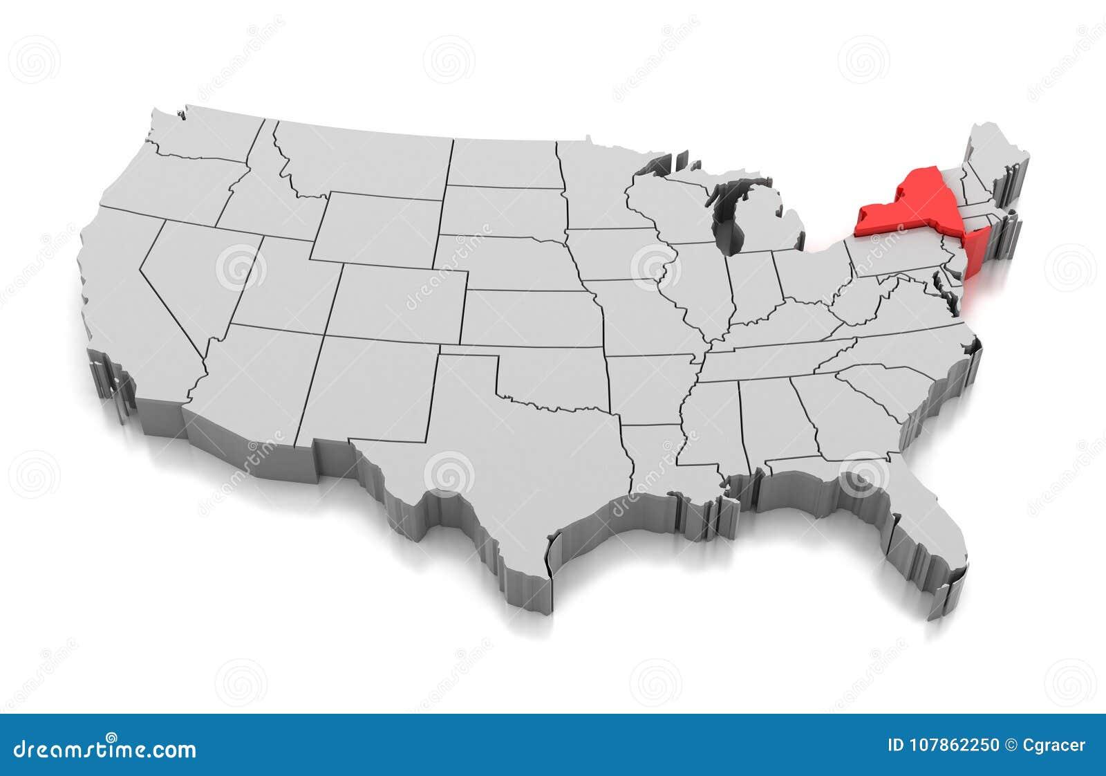 Carte De L état De New York Etats Unis Illustration Stock Illustration Du Forme Pays 107862250
