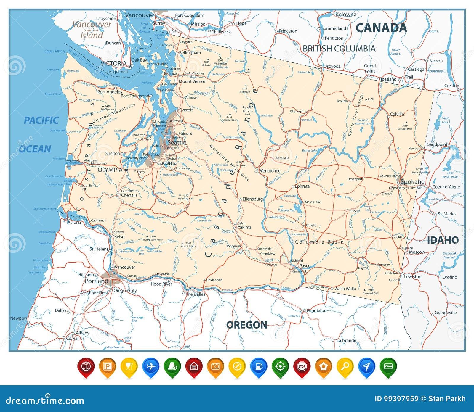 Carte de l 39 tat de washington avec les indicateurs color s for Architecte urbaniste de l etat