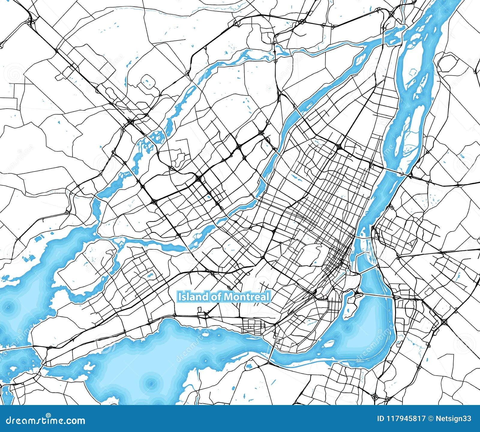 Carte Du Canada Montreal.Carte De L Ile De Montreal Canada Illustration De Vecteur