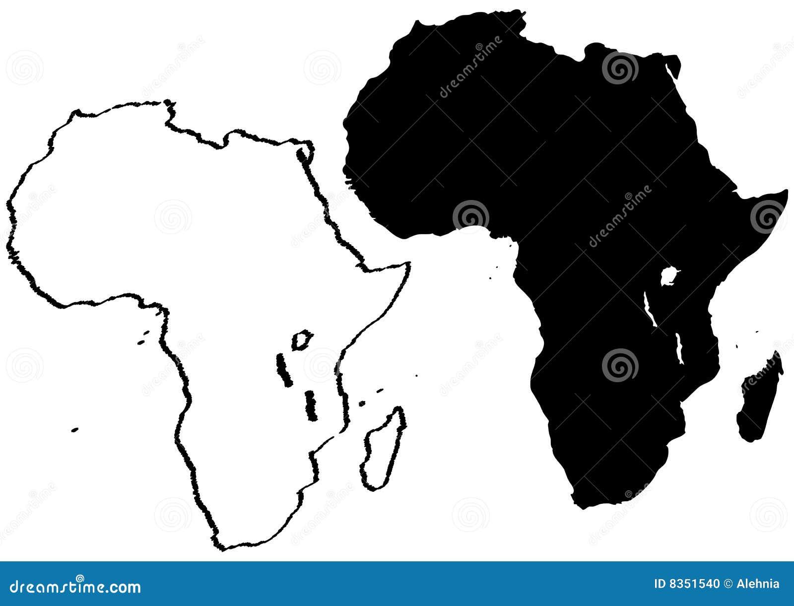 Carte De Lafrique Noir Et Blanc.Carte De L Afrique Illustration De Vecteur Illustration Du