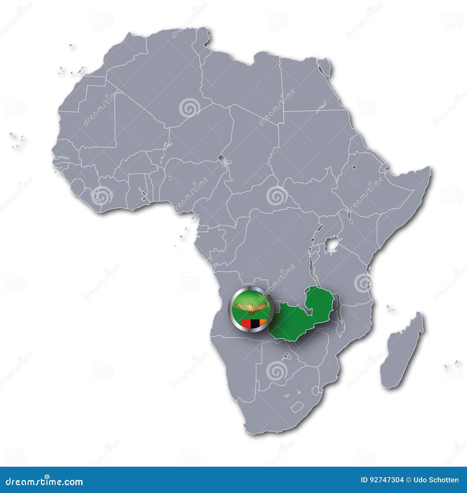 Carte Afrique Zambie.Carte De L Afrique Avec La Zambie Illustration Stock