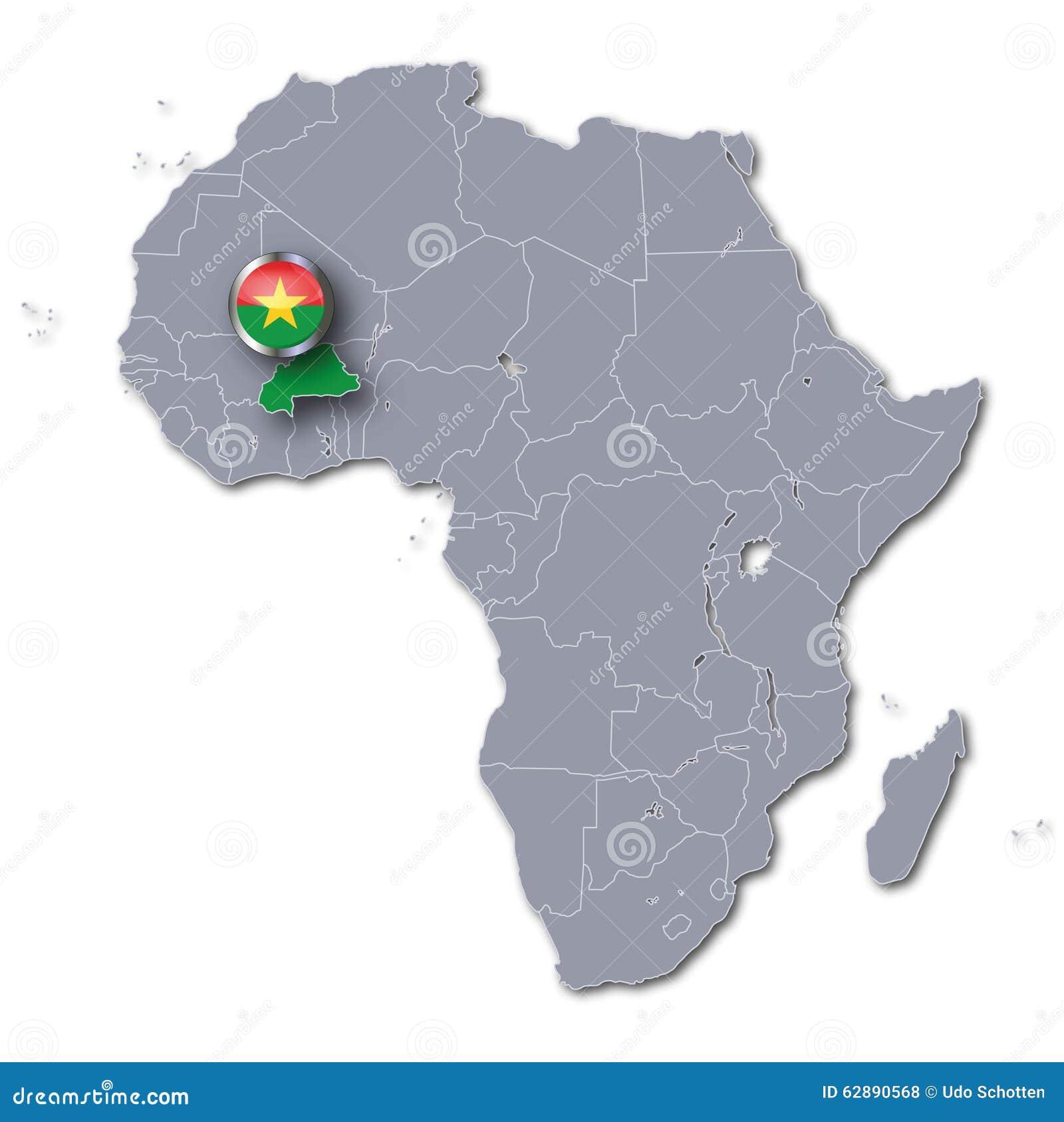 Connu Carte De L'Afrique Avec Le Burkina Faso Illustration Stock - Image  QC67
