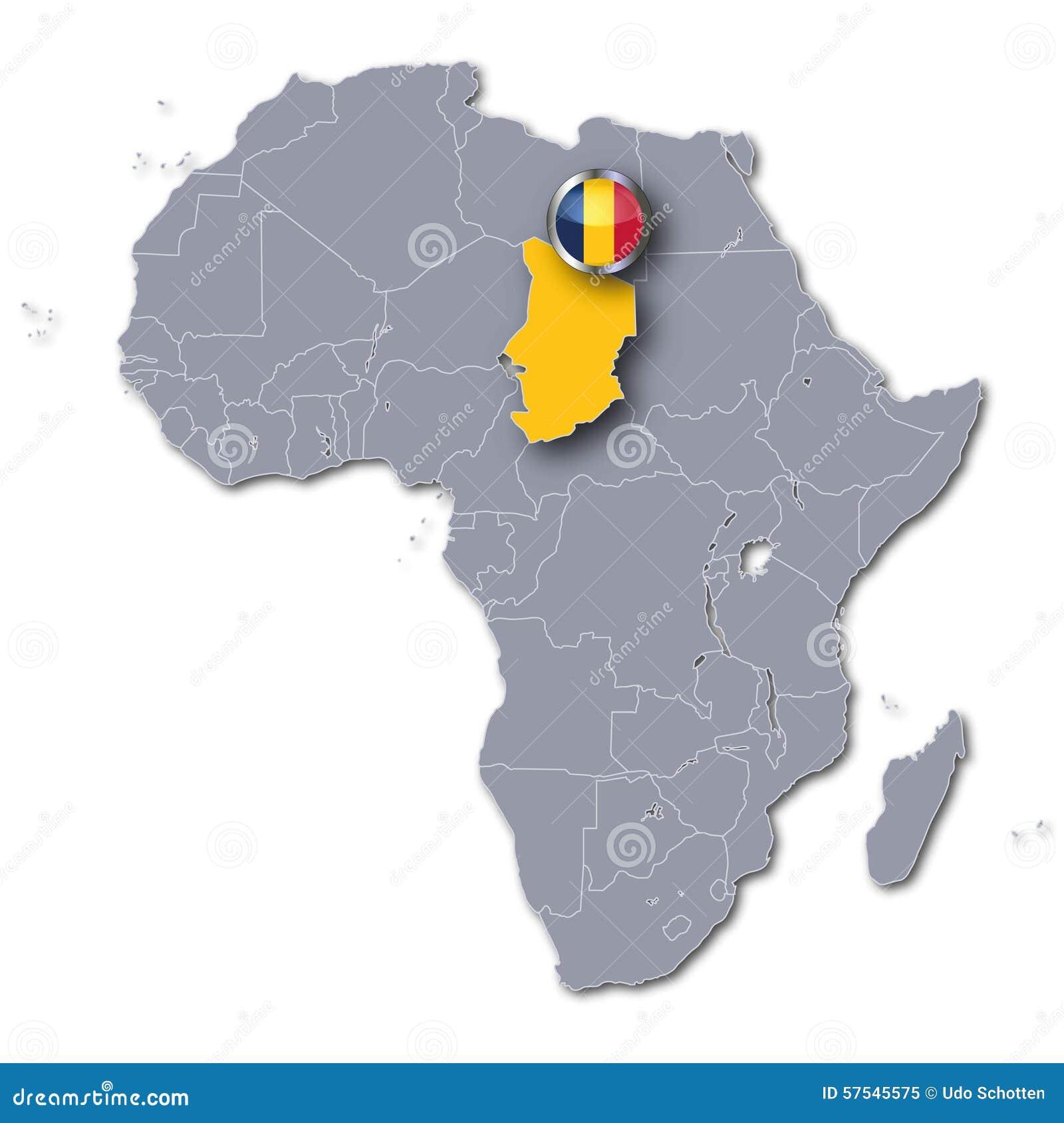 Carte De Lafrique Tchad.Carte De L Afrique Avec Le Tchad Illustration Stock