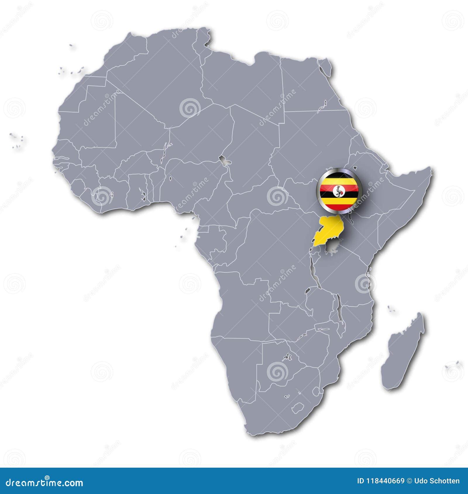 Carte Afrique Ouganda.Carte De L Afrique Avec L Ouganda Illustration Stock