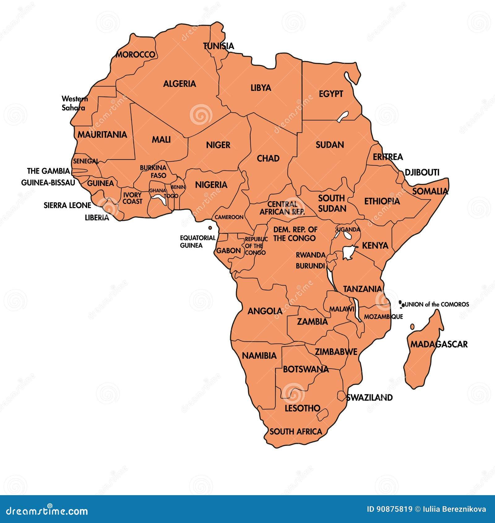Carte Afrique Avec Pays.Carte De L Afrique Avec Tous Les Pays Illustration De