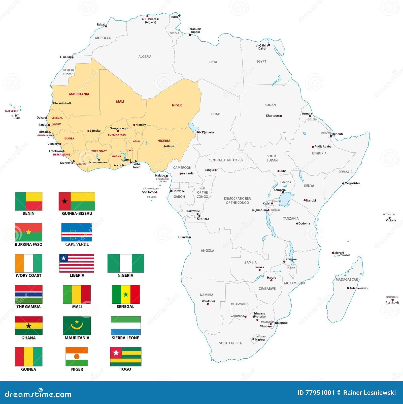 Carte Afrique De Louest.Carte De L Afrique De L Ouest Avec Des Drapeaux Illustration