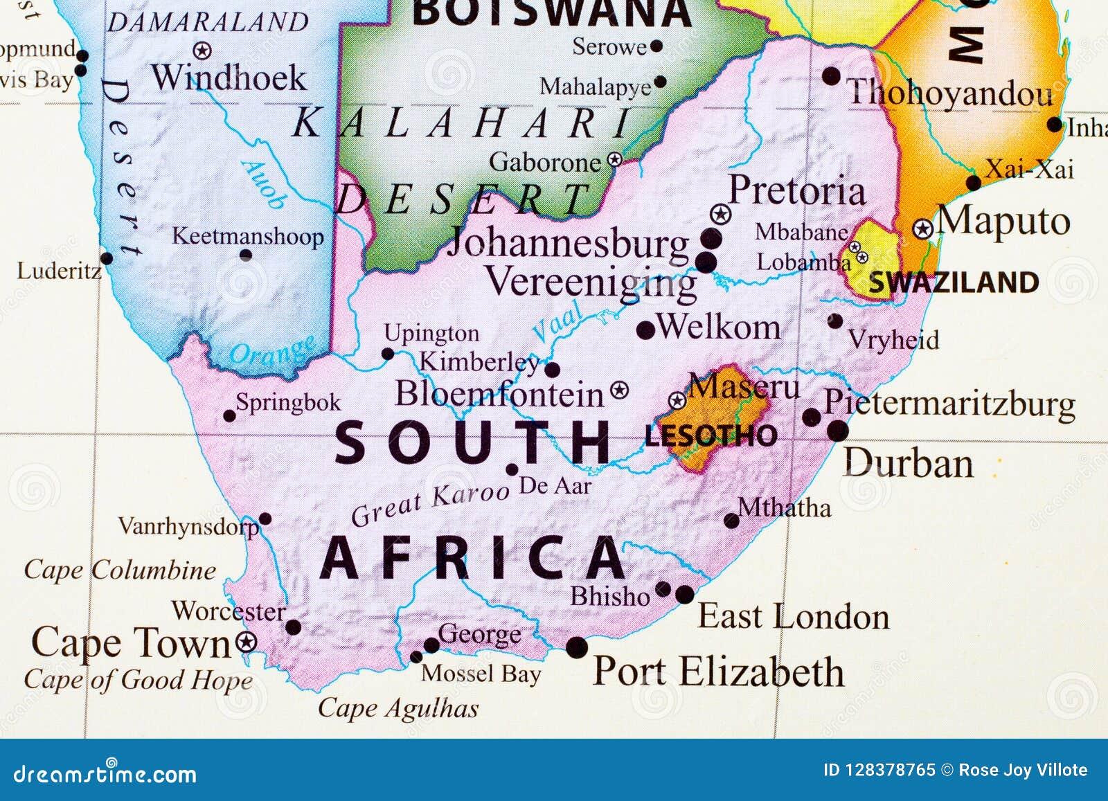 Carte de l Afrique du Sud
