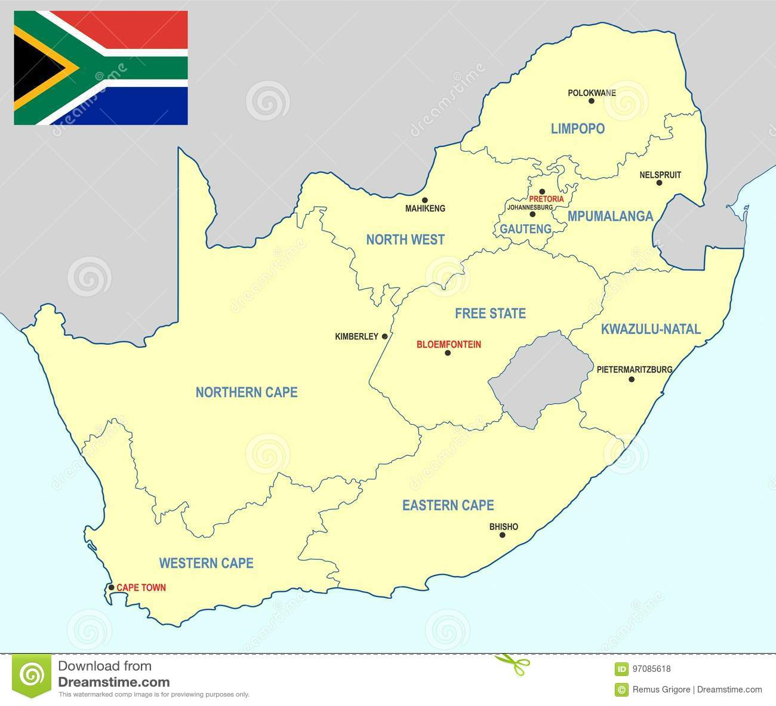 Carte De Lafrique Du Sud Avec Les Villes.Carte De L Afrique Du Sud Format De Cdr Illustration De