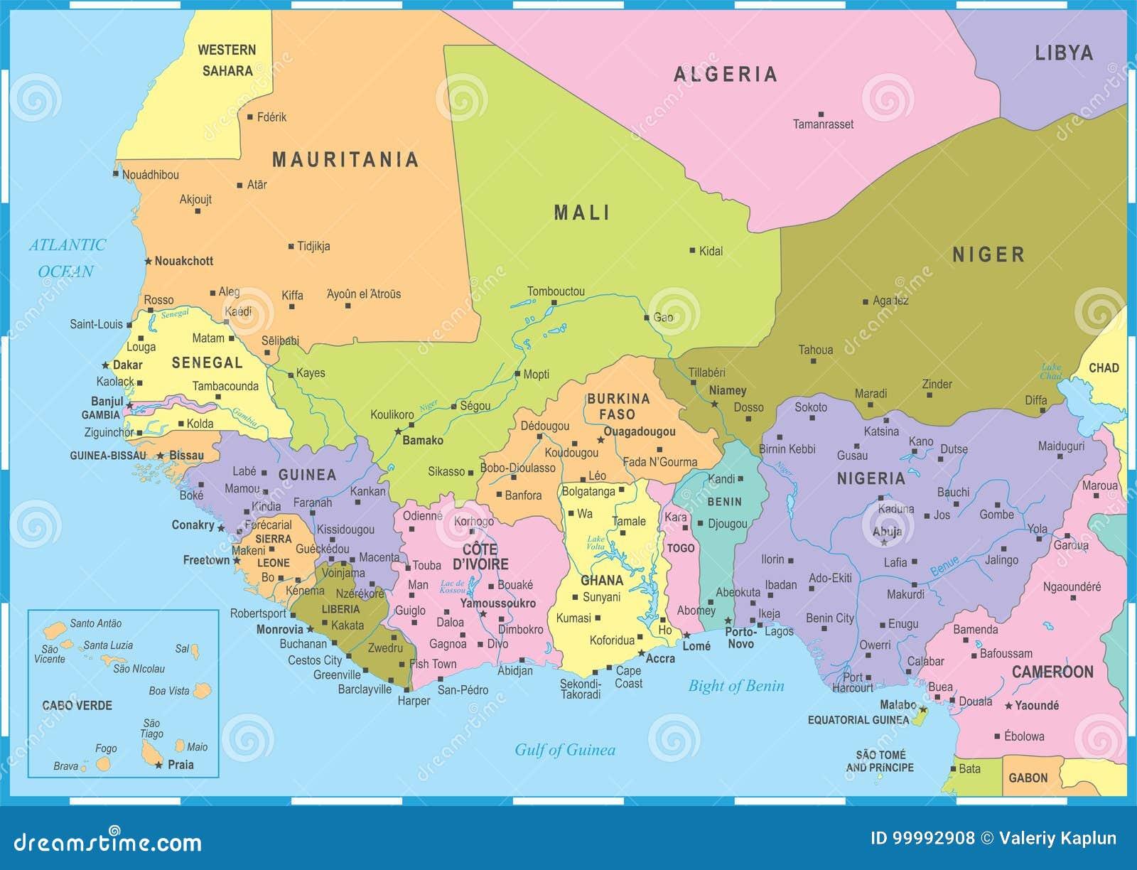 Carte Afrique De Louest.Carte De L Afrique De L Ouest Illustration De Vecteur