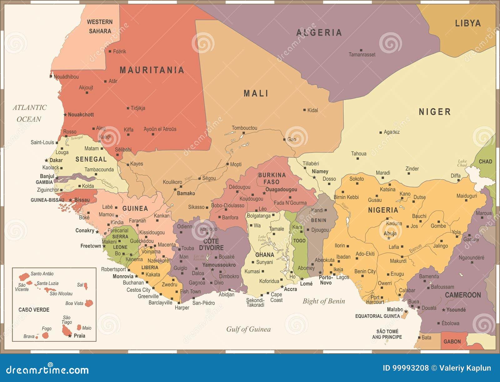 Carte Afrique De Louest.Carte De L Afrique De L Ouest Illustration De Vecteur De