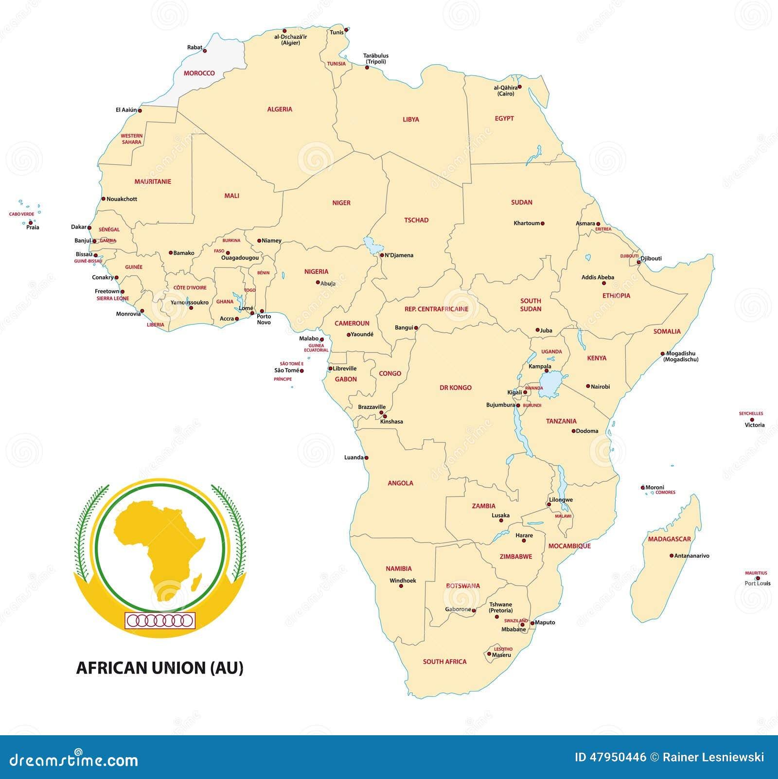 Carte Union Africaine.Carte De L Afrique Union Africaine Illustration De Vecteur
