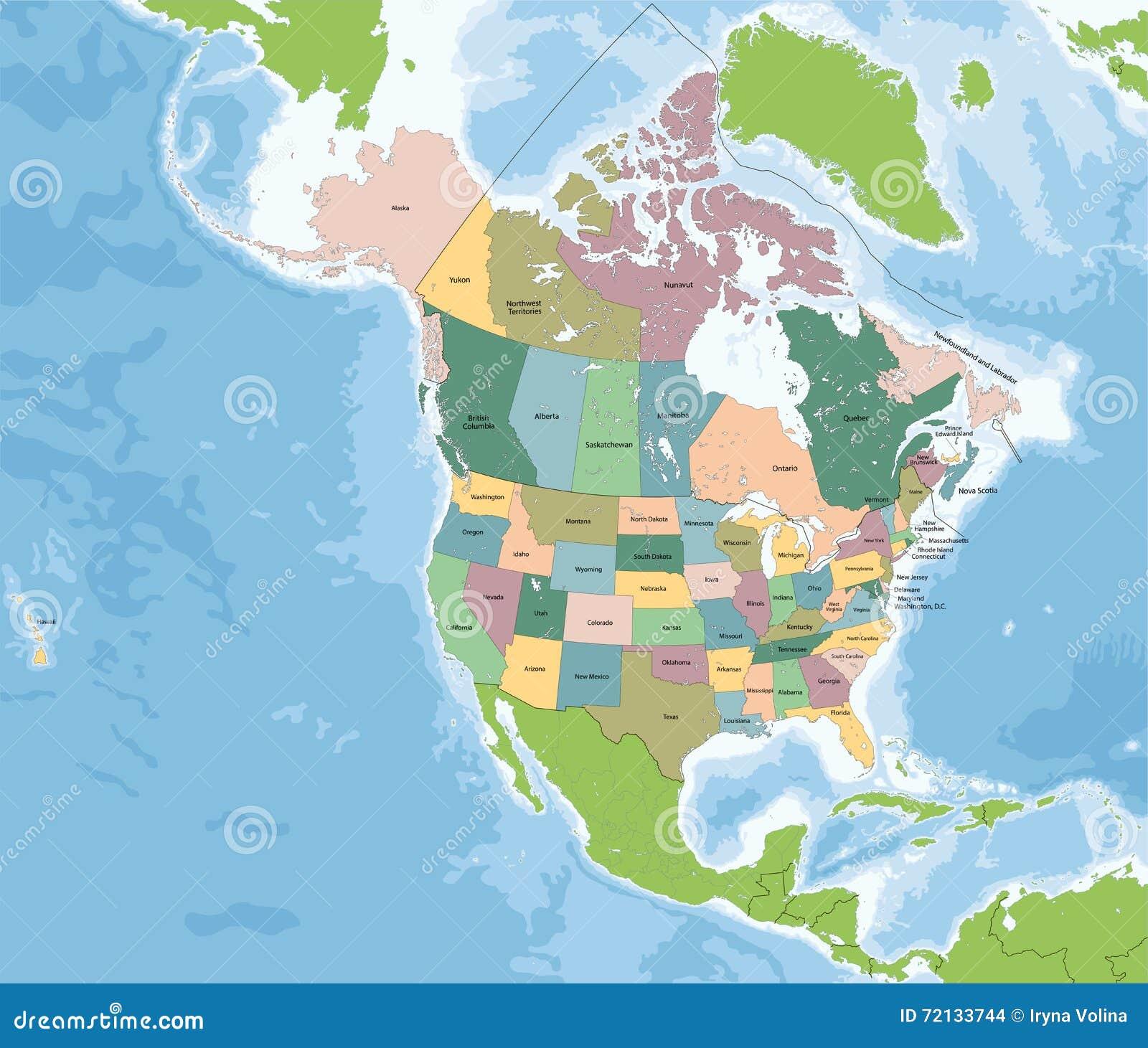 carte de l amérique du nord avec les états Carte De L'Amérique Du Nord Avec Les Etats Unis Et Le Canada