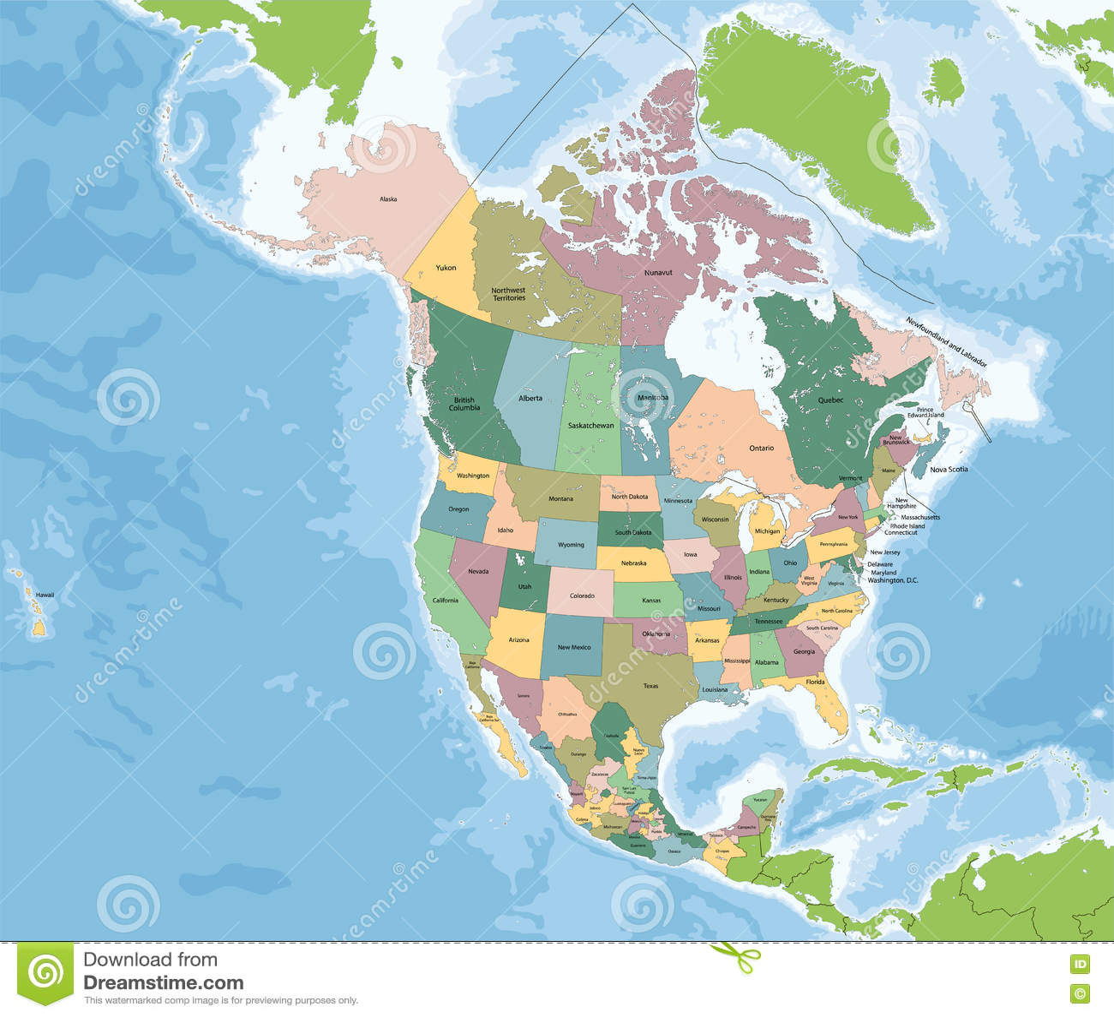 carte de l amérique du nord avec les états Carte De L'Amérique Du Nord Avec Les Etats Unis, Le Canada Et Le