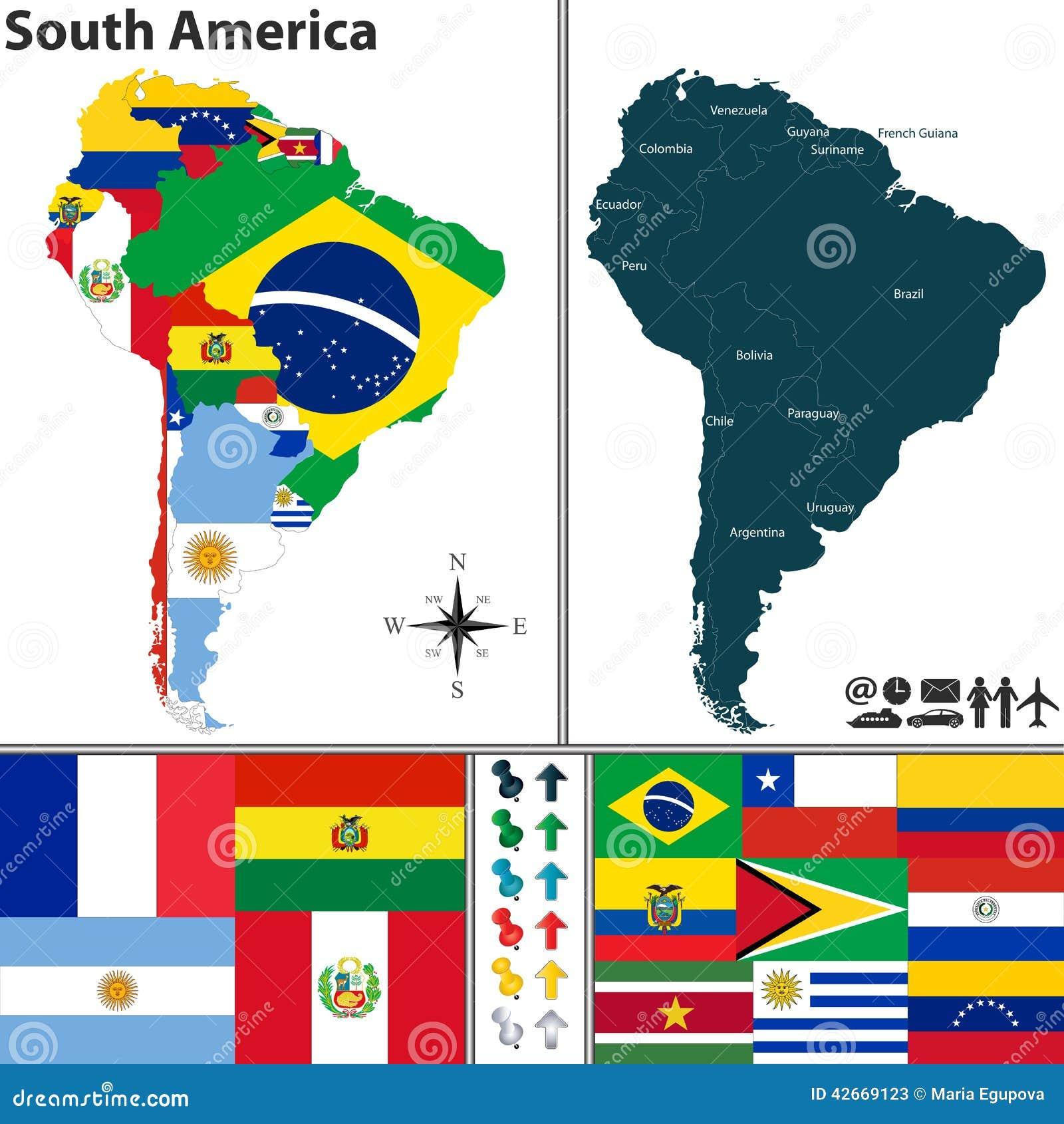 Carte de l 39 am rique du sud illustration de vecteur illustration du am ricain 42669123 - Drapeau de l amerique ...