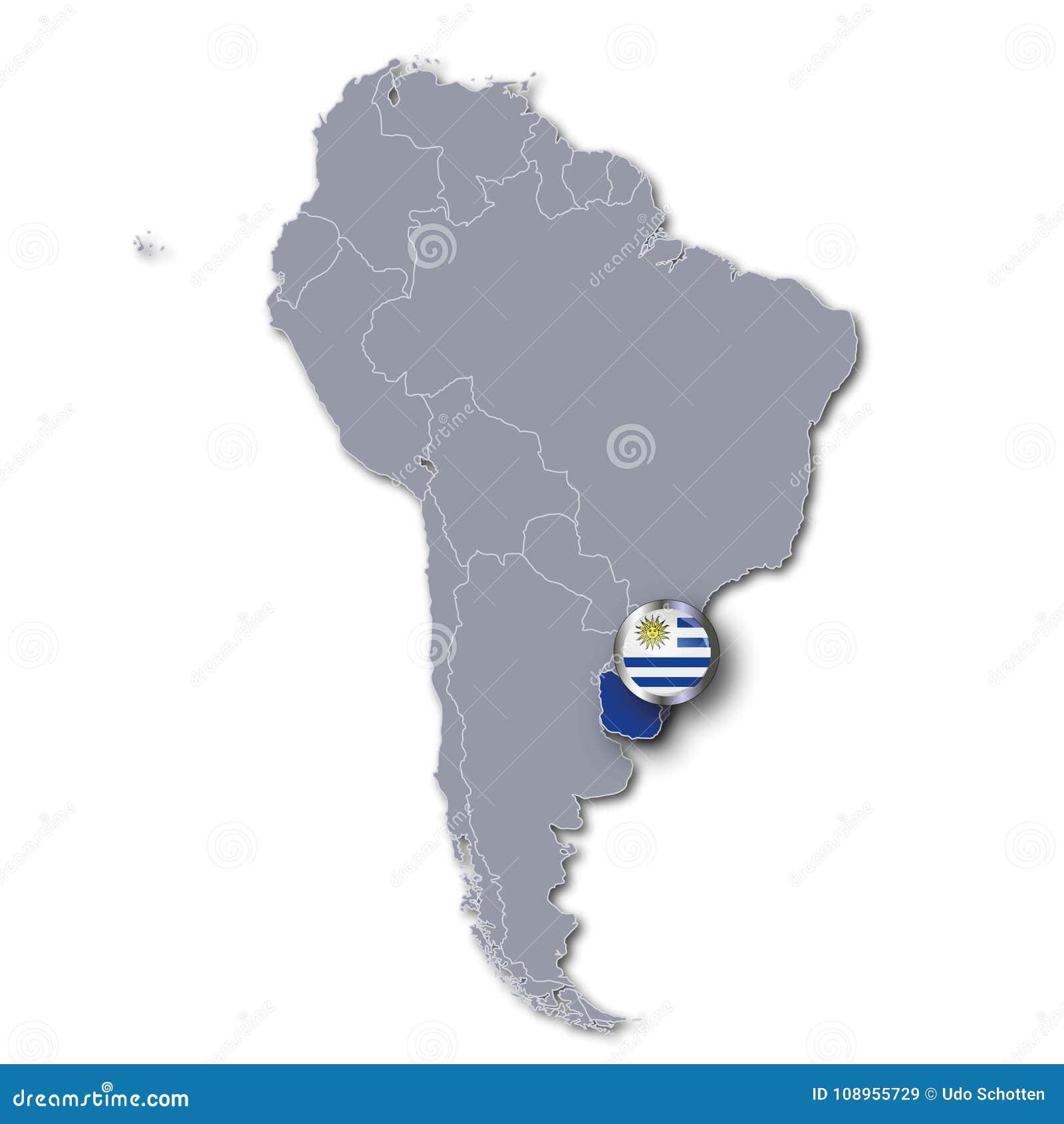 Carte Amerique Latine Uruguay.Carte De L Amerique Du Sud Avec L Uruguay Illustration Stock