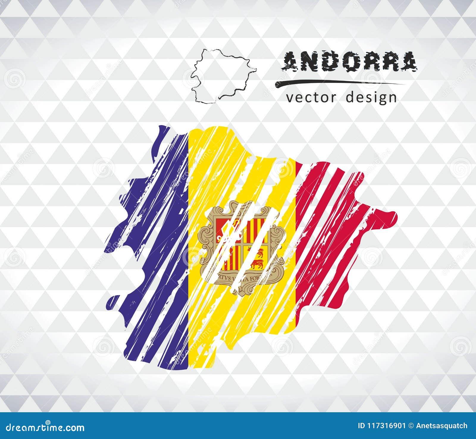 Carte de l Andorre avec la carte de croquis tirée par la main à l intérieur Illustration de vecteur