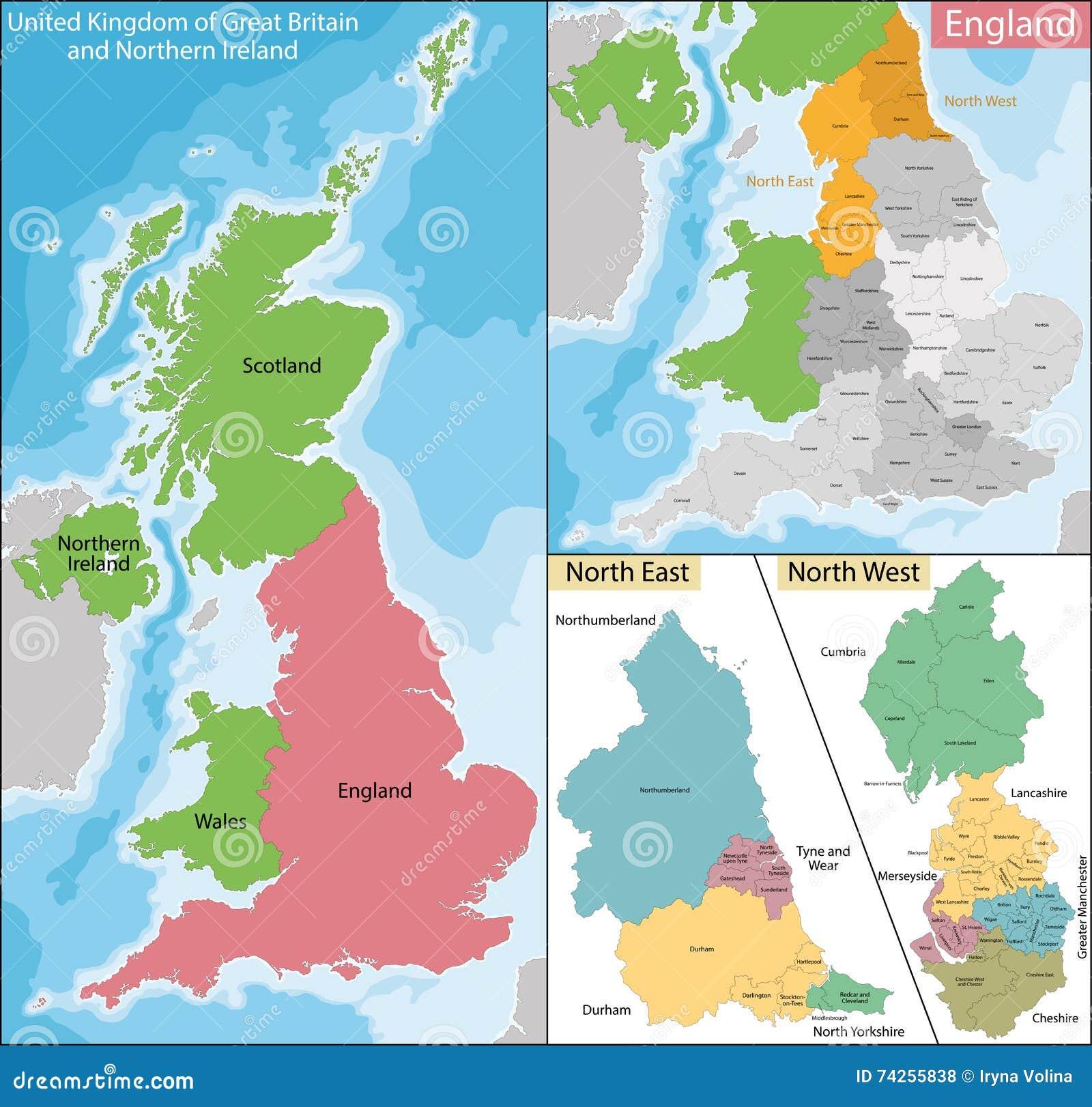 Carte Dangleterre.Carte De L Angleterre D Est Et Occidentale Du Nord Illustration De