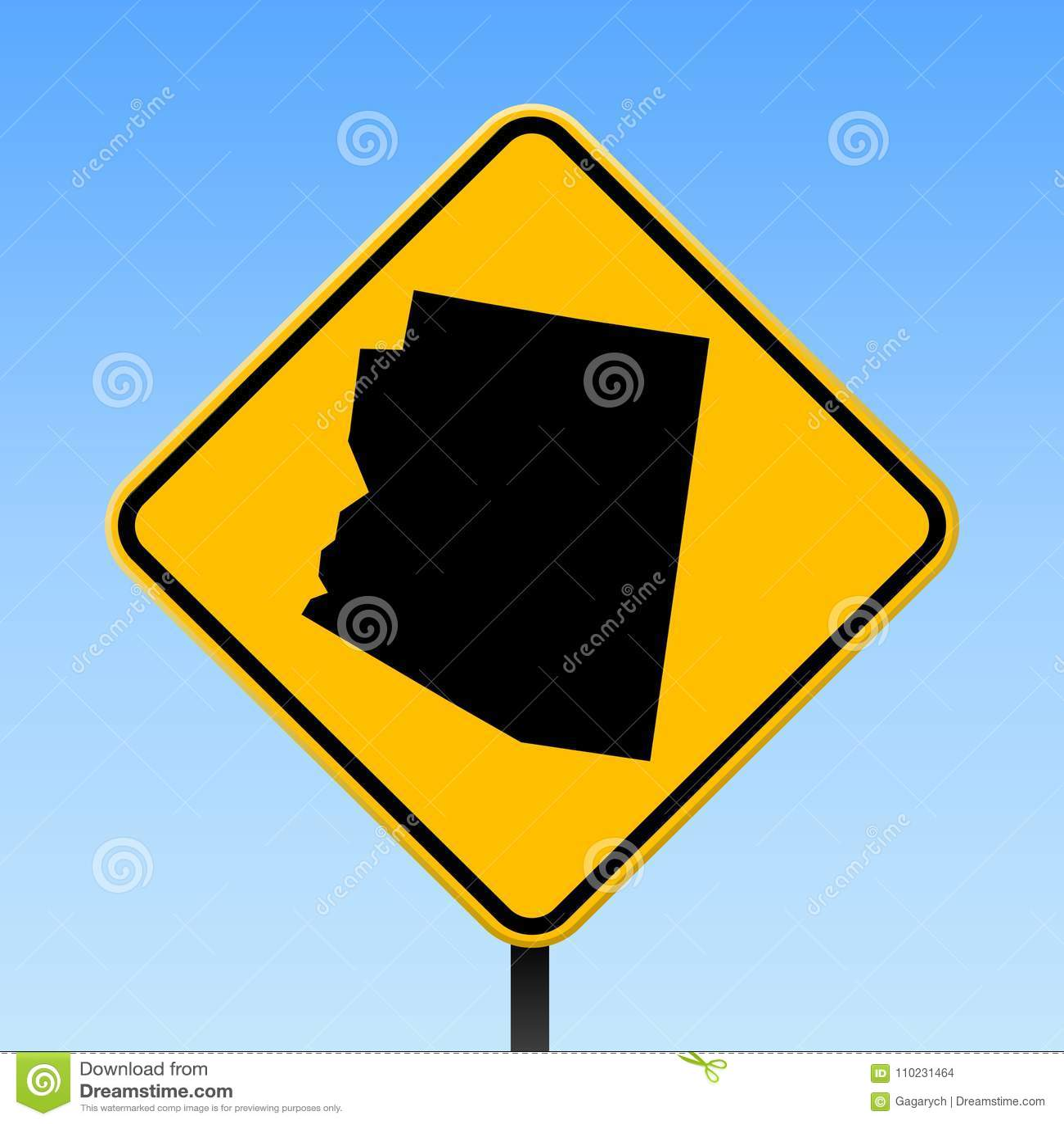 Carte de l Arizona sur le panneau routier