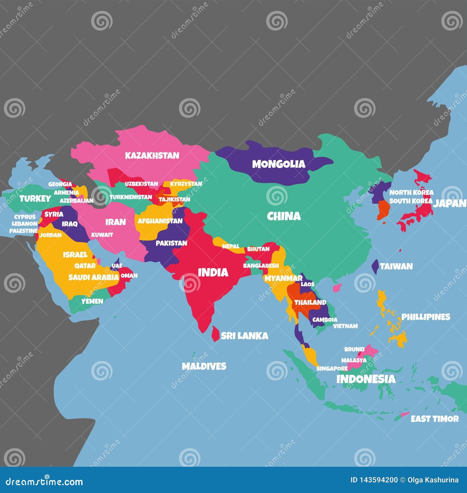 carte d asie avec nom des pays CARTE DE L'ASIE AVEC LE NOM DES PAYS Illustration Stock