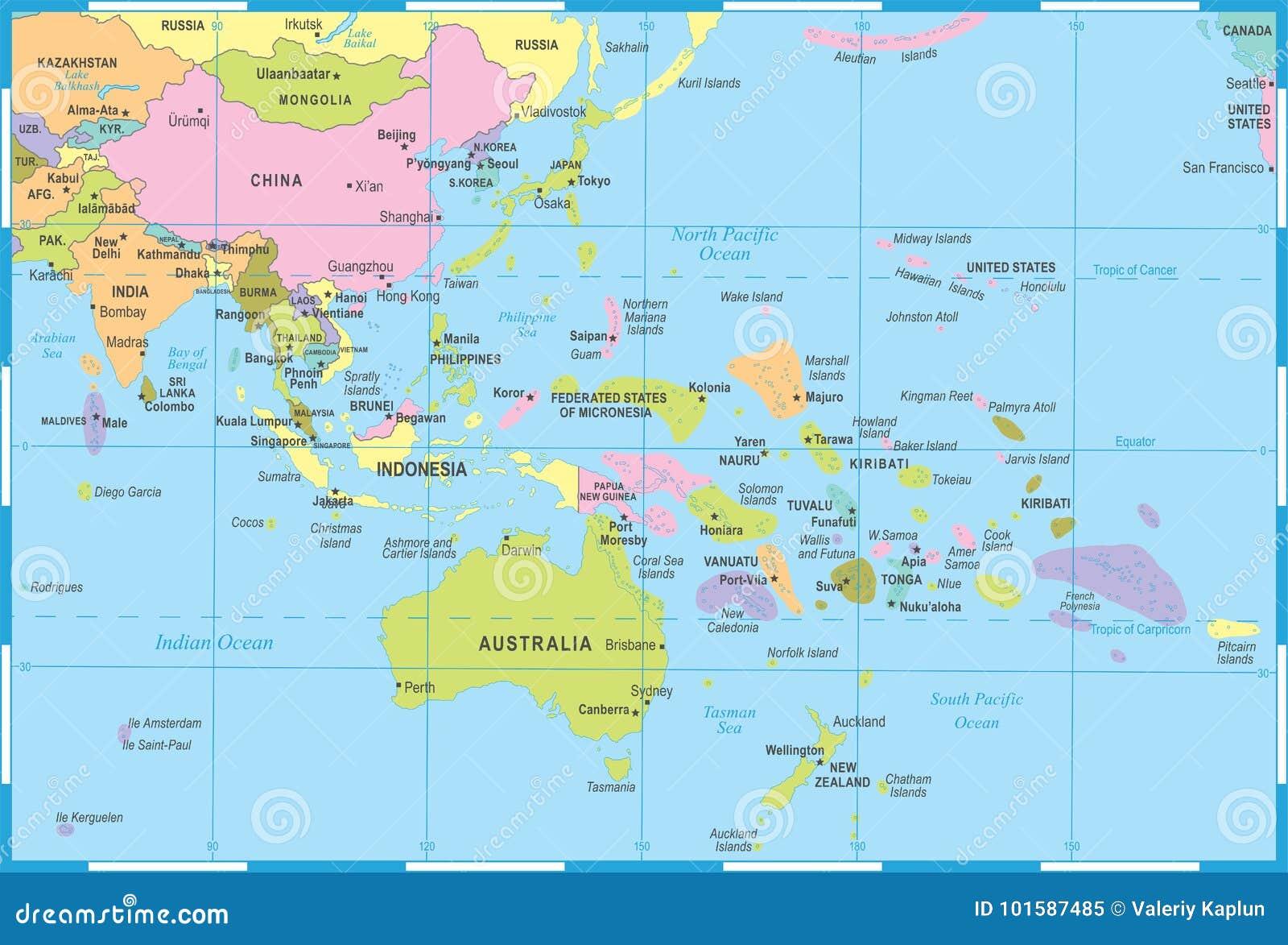 Carte Asie Oceanie.Carte De L Asie De L Est Et D Oceanie Illustration De